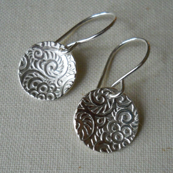Silver Disc Earrings, Textured Pattern Round Earrings, Patterned Silver Discs