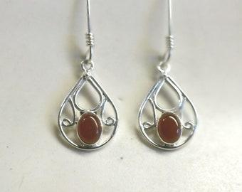 Teardrop Red  Carnelian  and Sterling Silver Drop Earrings