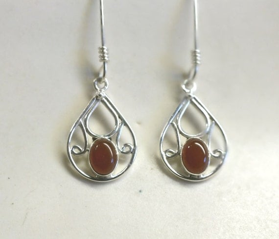 Teardrop Red  Carnelian  and Sterling Silver Drop Earrings