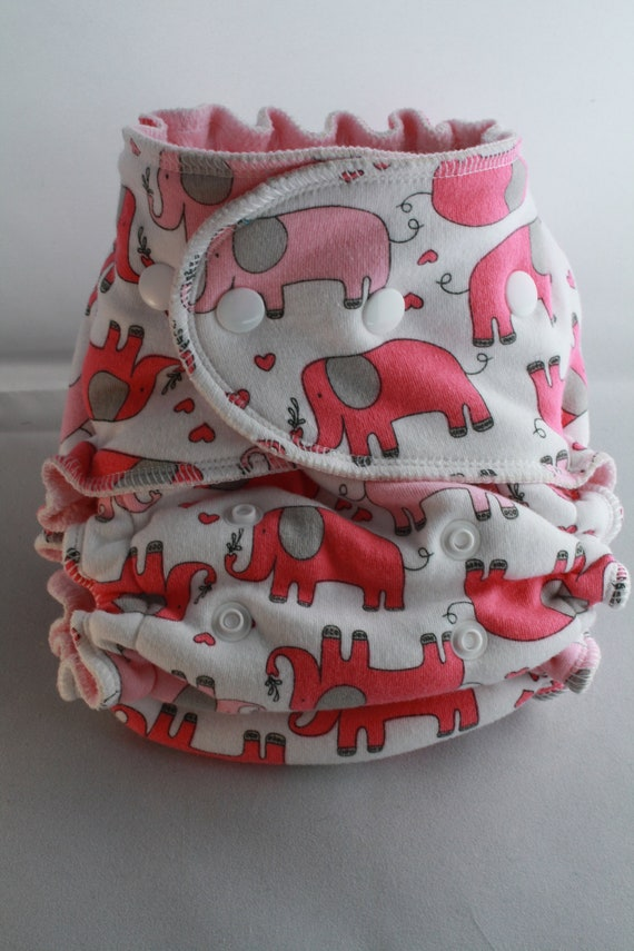 Lambie Love Fitted Cloth Diaper--One Size Fits Most--Pinky The Elephant---Cotton Velour, Hemp Fleece & Bamboo Fleece