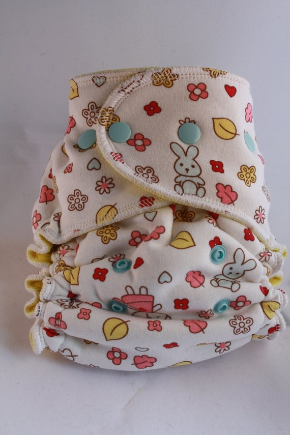 Lambie Love Fitted Cloth Diaper--One Size Fits Most--Best Friends Forever---Cotton Velour, Organic Hemp Fleece, & Bamboo Fleece