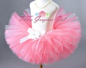 Coral & White Flower Girl Tutu...Summer Photo Prop Tutu, Special Occasion Tutu for Baby, Toddler, Girls, Adult Women . . . CORAL PRINCESS
