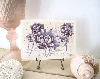 Lotus Flower Note Card -Lotus in the Rain - Pale Peach Indigo Rain Drops printed Parchment Paper card