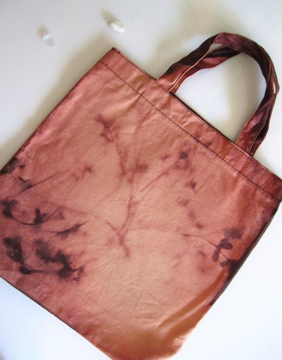 Canvas Tote - Hand Dyed Ombre Peach - Botanical -  Lunch Tote - Washed Out - Organic Eco Bag