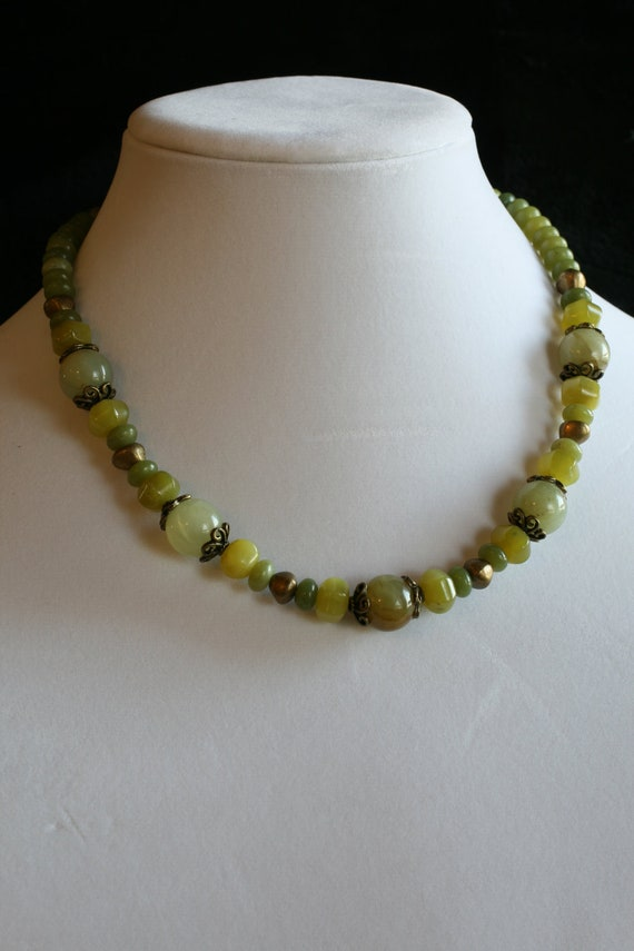 Jade and Antique Brass Necklace