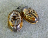 Root Beer Porcelain Scarab Links - suburbangirlbeads