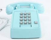 Aqua Blue Phone Vintage push button telephone