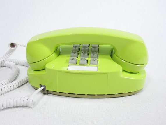 1978 Vintage Phone chartreuse push button telephone