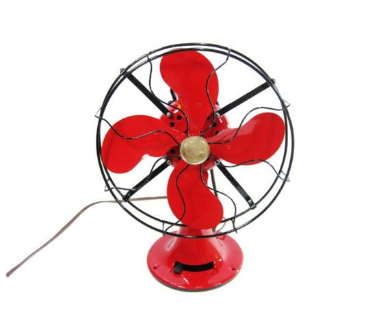 Vintage Electric Fan Red & Black 1920s