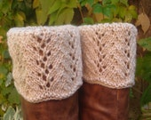 Boot Toppers -  Buff Scalloped Feather & Lace