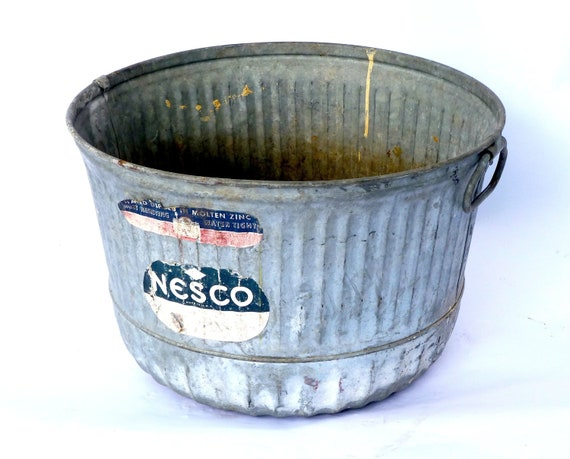 Large Vintage Zinc Bucket Pail Planter By Cushionchicago