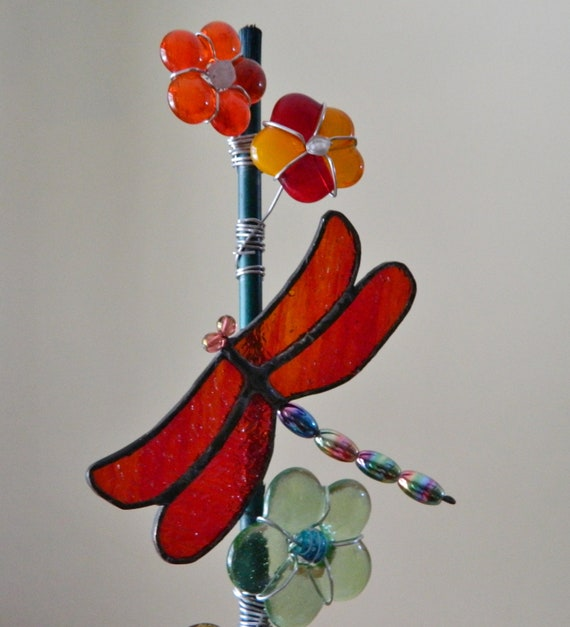 Dragonfly stained glass Fused Glass Flower Bouquet suncatcher