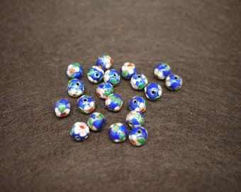 Blue Cloisonne Beads 9mm - Package of 20pcs - (0553)
