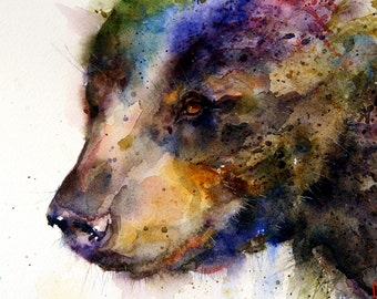 BLACK BEAR Large Watercolor Print by Dean Crouser