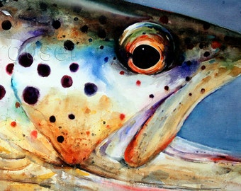 BROWN TROUT Large Watercolor Print by Dean Crouser