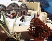 Santorini Greece Photograph - Greek Islands Print - Blue Dome Churches - Travel Photography - Mediterranean Home Decor - Wall Art - Flowers