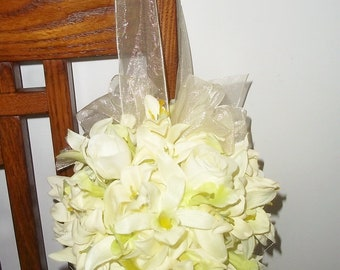 Orchid and Rose Bud Kissing Ball, Pew Kissing Balls, Flowergirl Bouquet, Ivory Kissing Balls, Wedding Decorations
