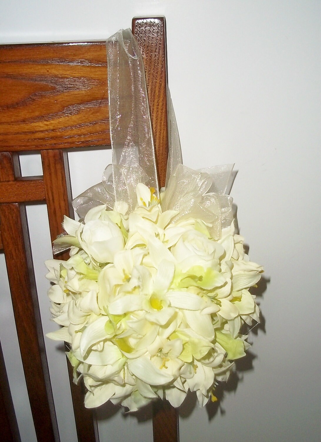Orchid and Rose Bud Kissing Ball, Pew Kissing Balls, Flowergirl ...