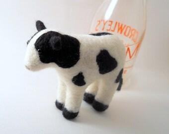 Felted Cow - Needle Felted Animal - Fiber Art