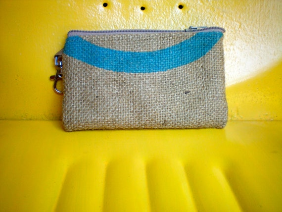 UpCycled Vegan Zipper Pouch Made From Coffee Sacks- Ready to Ship- burlap- coffee bean sack- jute-ipod- iphone -pouch