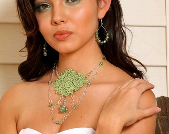 Green Statement Necklace, Bib Necklace, Peridot Green Glass Lace Necklace - 65% OFF - SAVANNAH