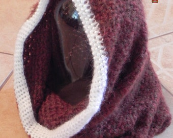 Crochet Beaded Rust Wimple, Hoodie, Infinity Scarf