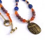 Egyptian Necklace Carnelian Lapis Lazulie Scarab Pendant