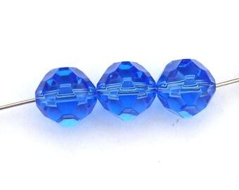 Swarovski Crystal Beads Sapphire Blue Vintage 5024 10mm