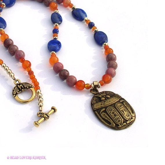 Egyptian Necklace Scarab Pendant Carnelian Lapis Lazuli