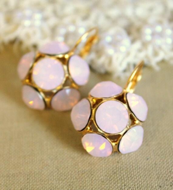 Pink earrings - 14 k gold matte plated  earrings with Beautiful pink blush swarovski rhinestone
