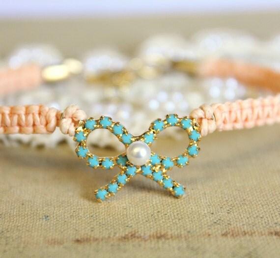 Friendship bracelet peach braided with real Turquoise swarovski rhinestones .