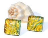 """Small Dichroic Stud Earrings, Fused Glass Jewelry, Posts, Square,  Warm, Sunrise, Golden Yellow Orange Citrine, 7/16"""" 11mm (Item 30415-E)"""