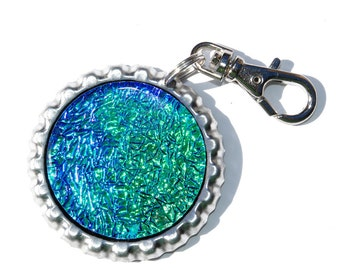 Dichroic Zipper Pull, Dichroic Glass Pendant/Necklace, Key Ring, Bottle Cap, Accessory, Purse Zipper Pull, Green Teal Purple (Item 70008-A)