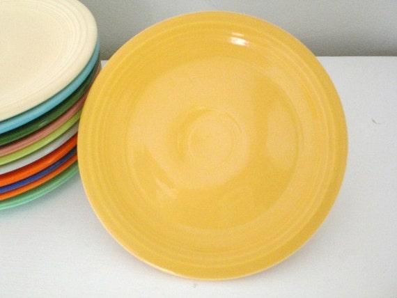 Vintage Fiestaware Cake Salad Plate Yellow
