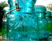 Vintage Pint Blue Ball Ideal Canning Jars - Set of 6