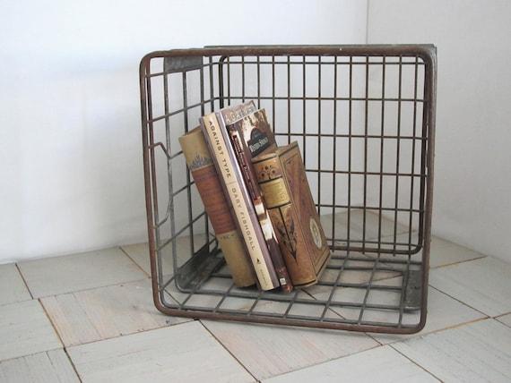 Vintage milk crate.....Dean's Dairy..........metal .....industrial storage...........wire basket
