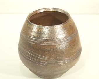 Ceramic Vase, Red Iron, Oxide Glazed, Wood Fired Kiln, Handmade, Wood Ash, Ornamental Vessel, Home Decor, Gift, 16