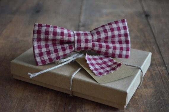 Crimson Gingham Bow Tie