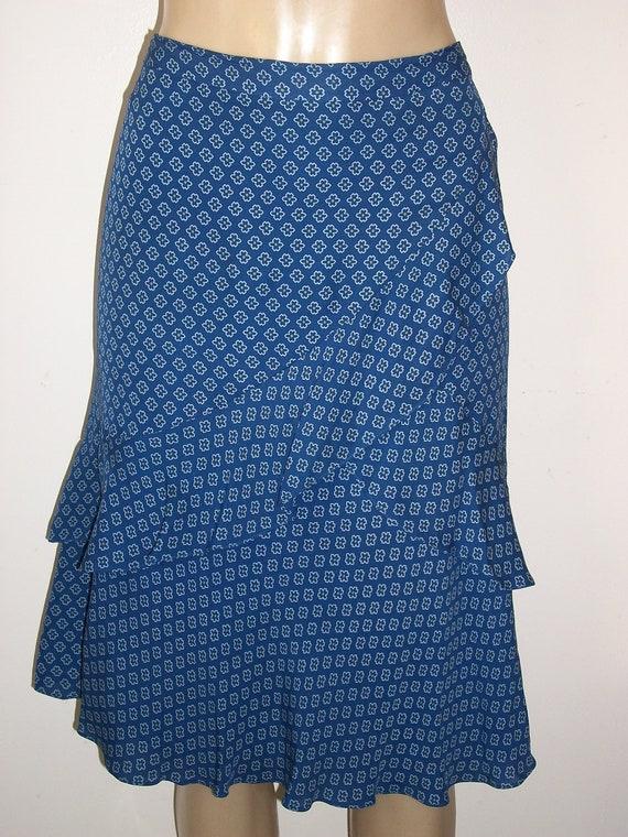 Michael Kors Blue Ruffled Fab Flirty Skirt - Feminine and Sweet Size 10