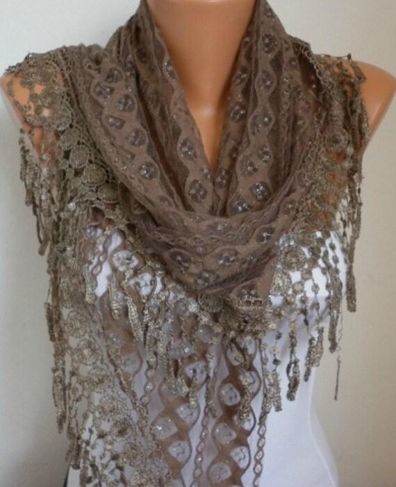Lace Scarf -  scarf shawl -  - Silvery - Free scarf - Beige - fatwoman