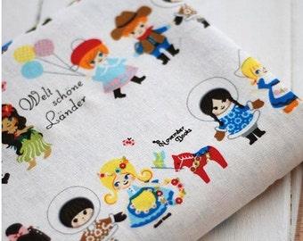 Cotton Linen Fabric Cloth -DIY Cloth Art Manual Cloth -Cute Boy And Girl  55x19 Inches