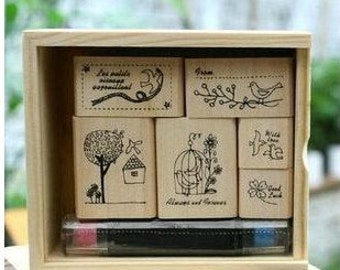 Wooden Rubber Stamp Box - Bird's Story