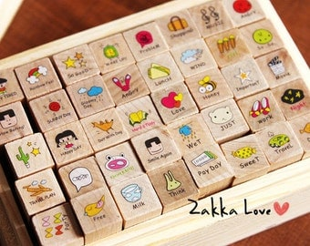 Wooden Rubber Stamp Set 40 kinds Korea DIY Woodiness Happy girl Diary Stamp Set