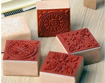Korea DIY Wooden Rubber Stamp Decoden Stamp - 6 Pcs in 6 different pattern