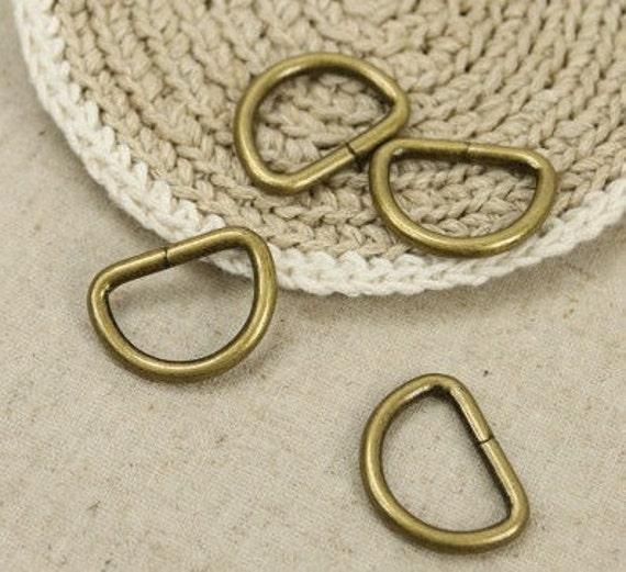10Pcs Antique Brass D-ring - For Craft Bag Purse