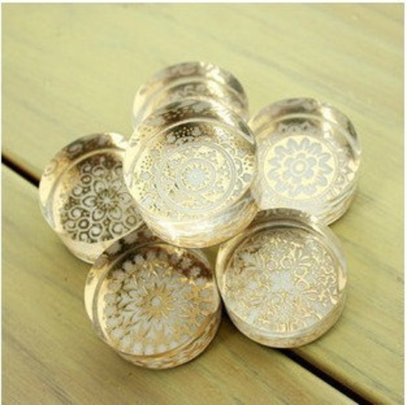Korea DIY Crystal Round Stamp-6 Pcs in 6 different pattern