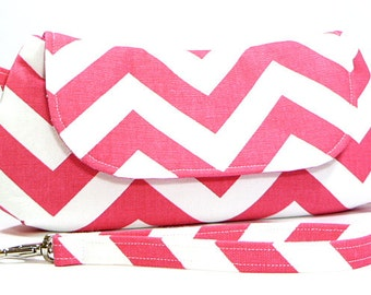 Clutch Purse - Pink and White Chevron Clutch Bag, Party Clutch, Gifts for Friend