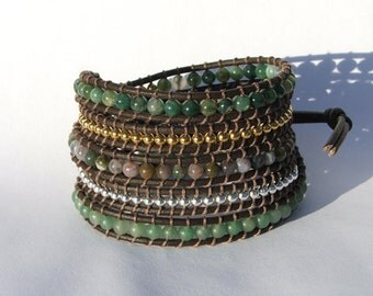 Leather Wrap Bracelet Leather Wrap Bracelet- Silver Gold and Semiprecious Stones