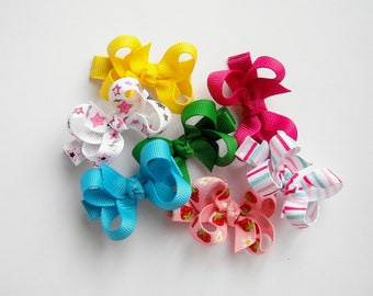 You Pick 4 Small Twisted Boutique Bows  - 73 Colors/Prints - Twisted Bows - Hair Bows - Hair Clips - Baby Hair Bows - Small Hair Clips