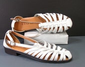 unisa white huarache leather sandals womens 7 M B flats spring summer shoes strappy